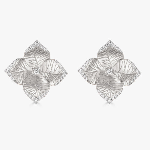 Oro Large Flower Earrings with Diamonds in 18K White Gold
