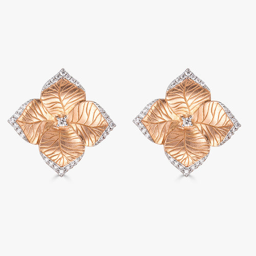 Oro Large Flower Earrings with Diamonds in 18K Rose Gold