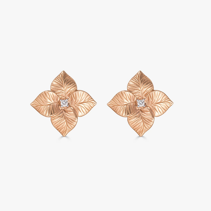 Oro Small Flower Earrings in 18K Rose Gold