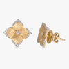 Oro Small Flower Earrings with Diamonds in 18K Yellow Gold