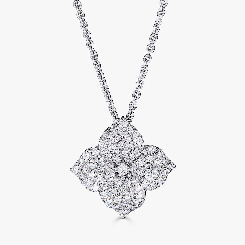 Mosaique Large Flower Pendant in 18K White Gold and Diamonds
