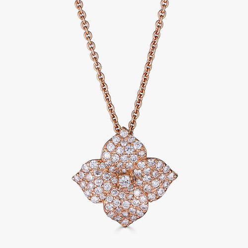 Mosaique Large Flower Pendant in 18K Rose Gold and Diamonds