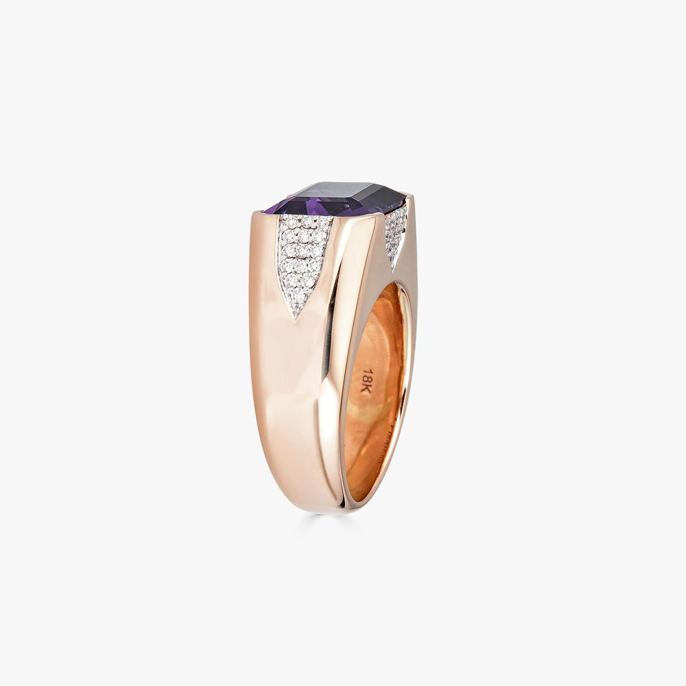 Pietra Small Ring in Amethyst with Diamonds