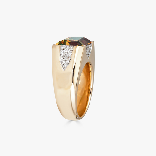 Pietra Small Ring in Citrine with Diamonds