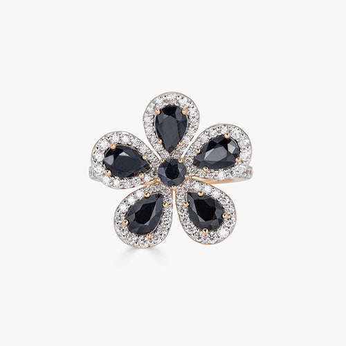 Classic Flower Ring in Black Sapphire