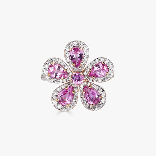 Classic Flower Ring in Pink Sapphire
