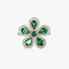 Classic Flower Ring in Green Tsavorite Garnet