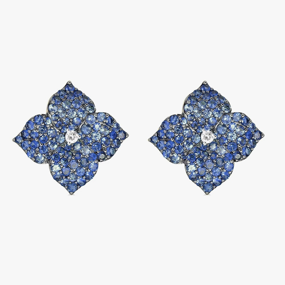 Mosaique Large Flower Earrings in Blue Sapphire