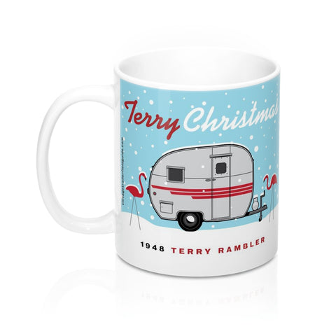 Terry Christmas / 1948 Terry Rambler, Ceramic Mug 11 oz - Vintage Trailer Field Guide
