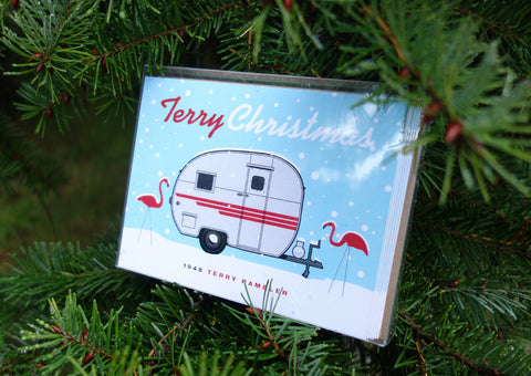 Vintage Trailer Holiday Greeting Cards (Pack of 6) - Vintage Trailer Field Guide