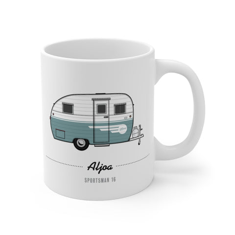 Aljoa Sportsman 16 (1953, Blue), Ceramic Mug - Vintage Trailer Field Guide