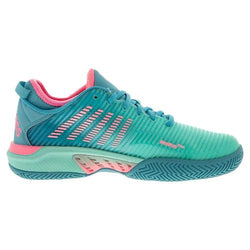 K-Swiss Women's Hypercourt Supreme Aruba Blue, Maui Blue and Soft Neon Pink Tennis Shoes