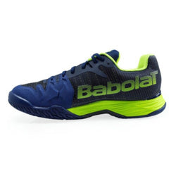 Babolat Men's Jet Mach II A/C Tennis Shoes Estate Blue and Flouro Yellow