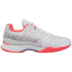 Babolat Women's Jet Mach II Tennis Shoes White and Flouro Pink