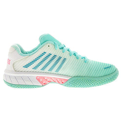K-Swiss Women's Hypercourt Express 2 Aruba Blue, White and Soft Neon Pink Tennis Shoes