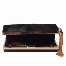 Load image into Gallery viewer, Black clutch with golden tassel