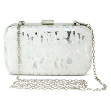 Load image into Gallery viewer, Leo Clutch in White & Silver