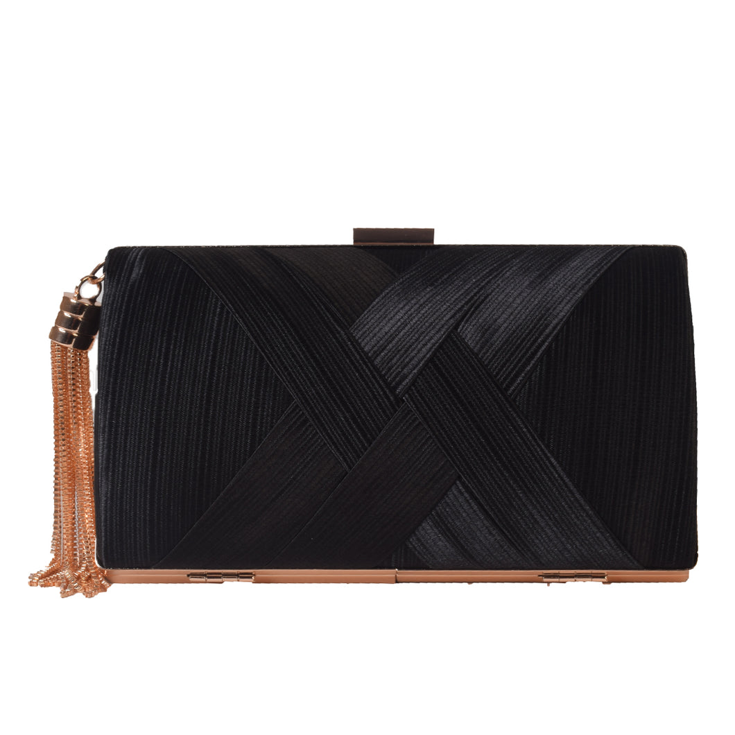 Black clutch with golden tassel
