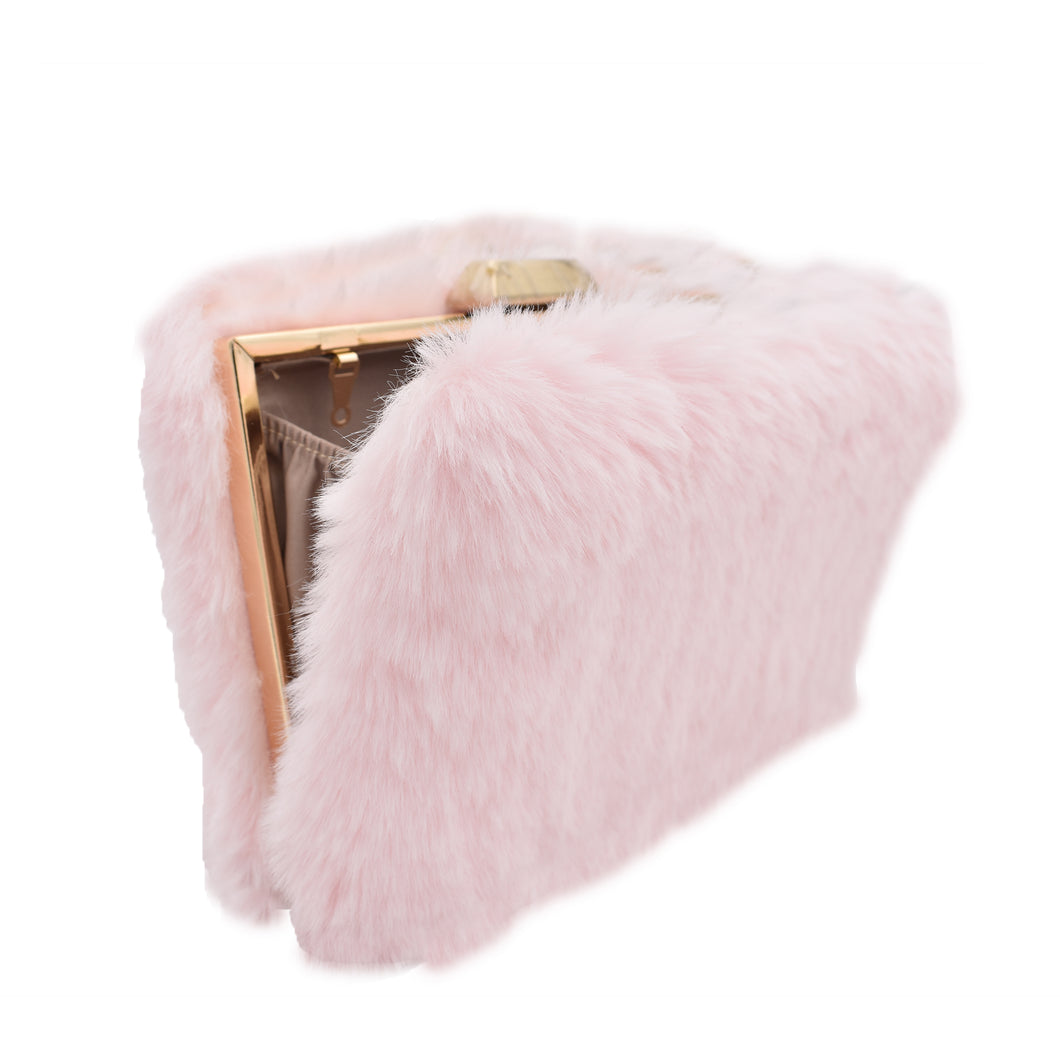 Furry Land clutch bag (baby pink)