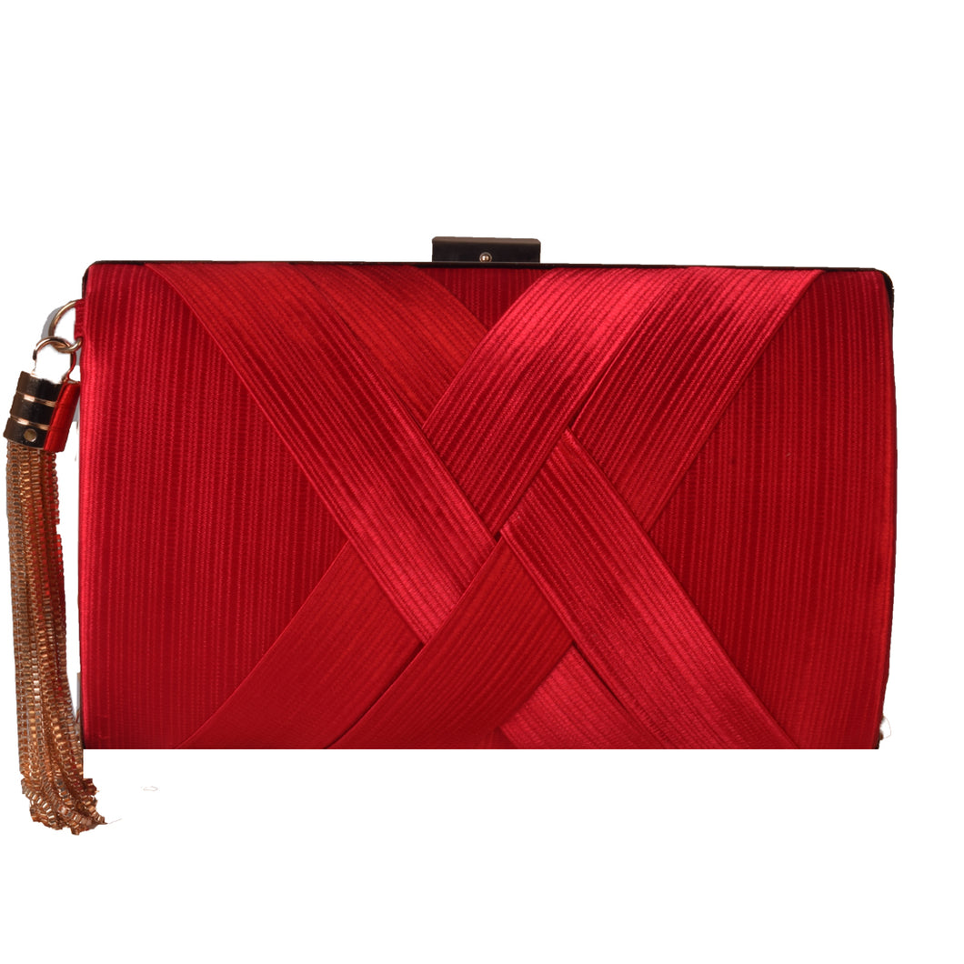 Red clutch with tassel