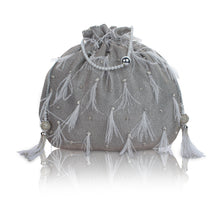 Load image into Gallery viewer, Liyana Feather Silver Potli Bag