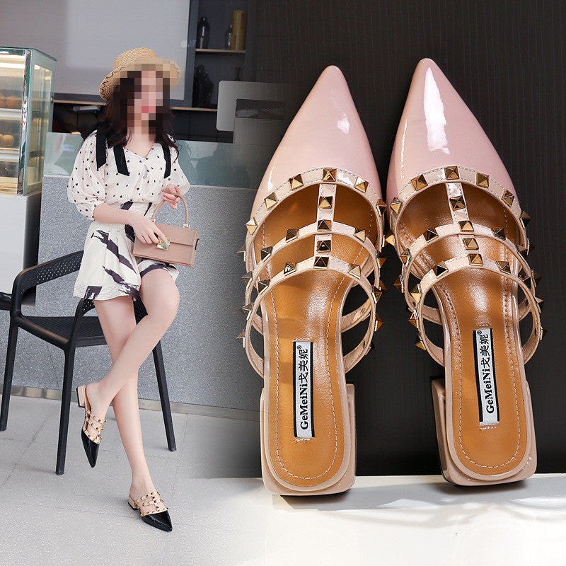 2019 Fashion Classic Rivet Patent Leather Slipper