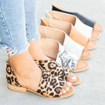 2019 New Fish Mouth Leopard Sandals