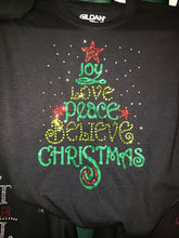 Joy Love Peace Tree Rhinestone Tee
