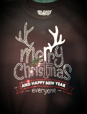 Merry Christmas & Happy New Year Rhinestone Tee