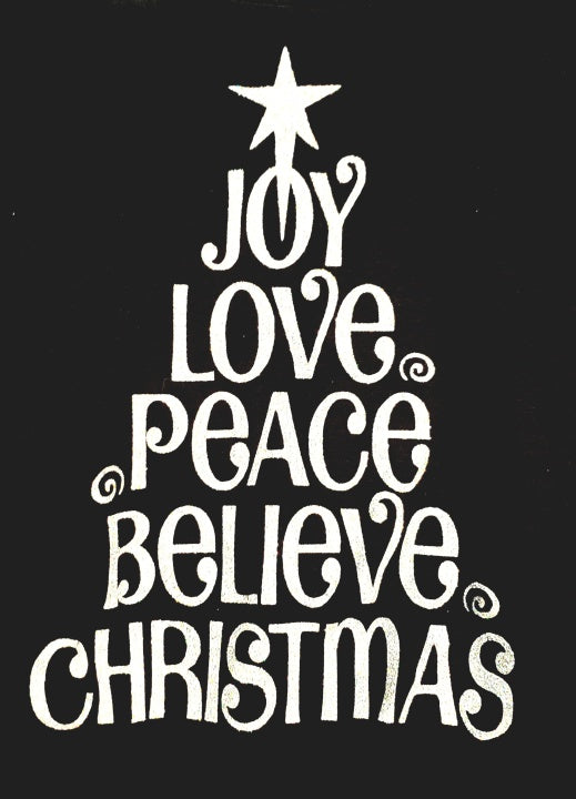 Joy Love Peace Believe Sparkly Glitter Tee
