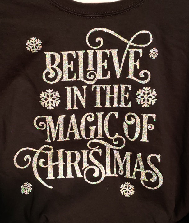 Believe in the Magic of Christmas Sparkly Glitter Tee