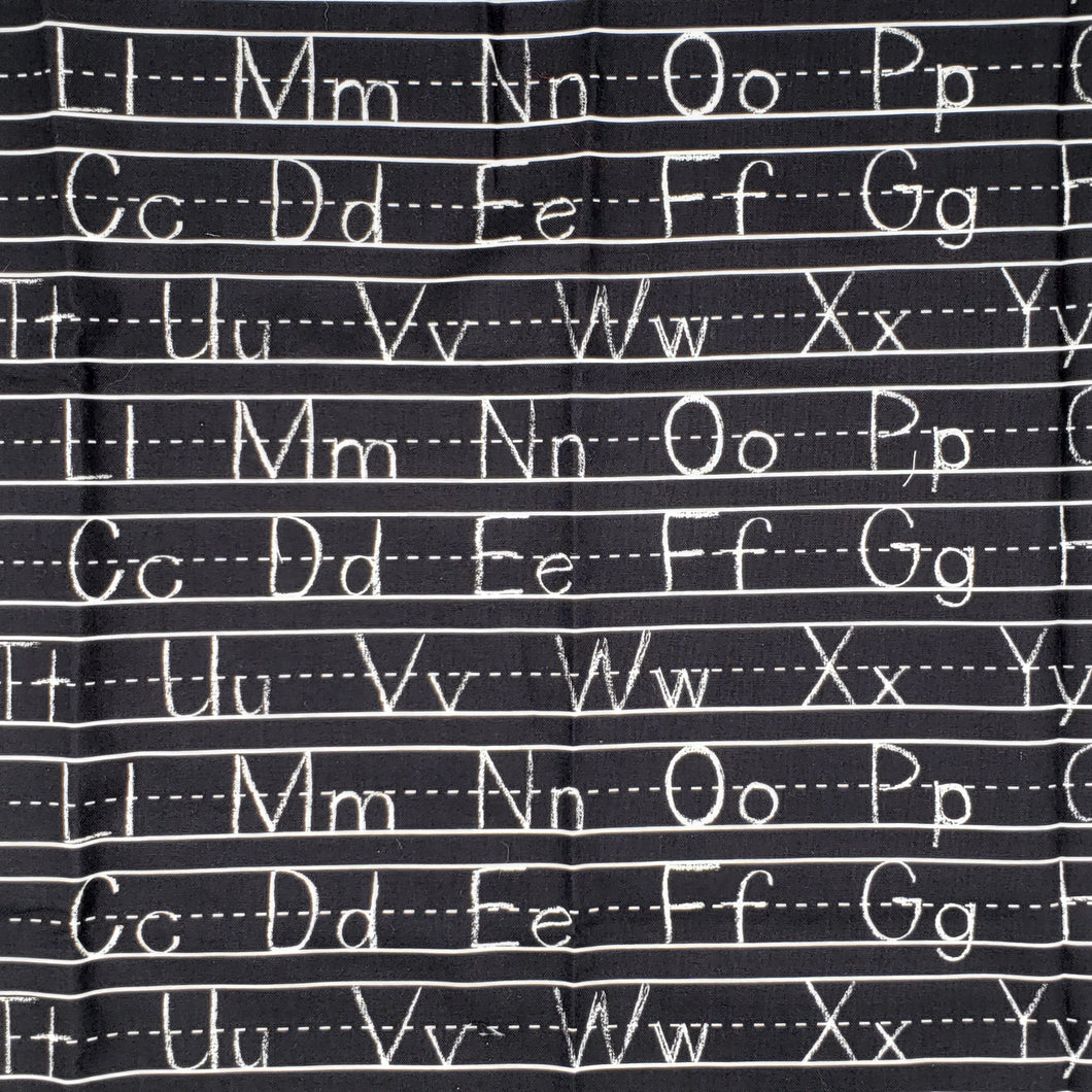 Alphabet print white on black