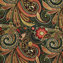 Green Red Gold paisley on green