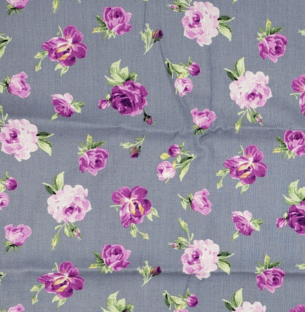 Purple Flowers on grey