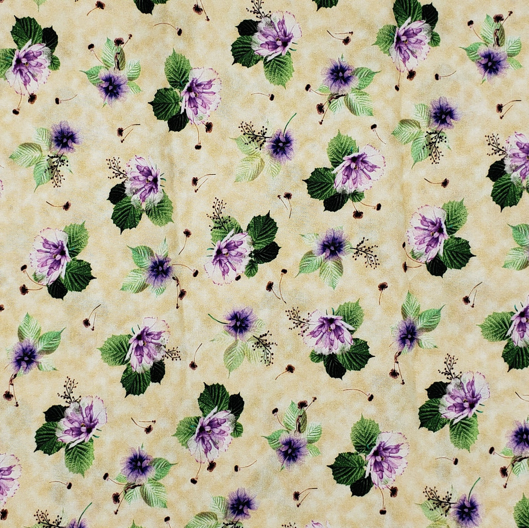 Purple Flowers on ivory