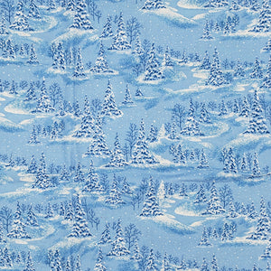 Winter Christmas blue snowy trees face mask