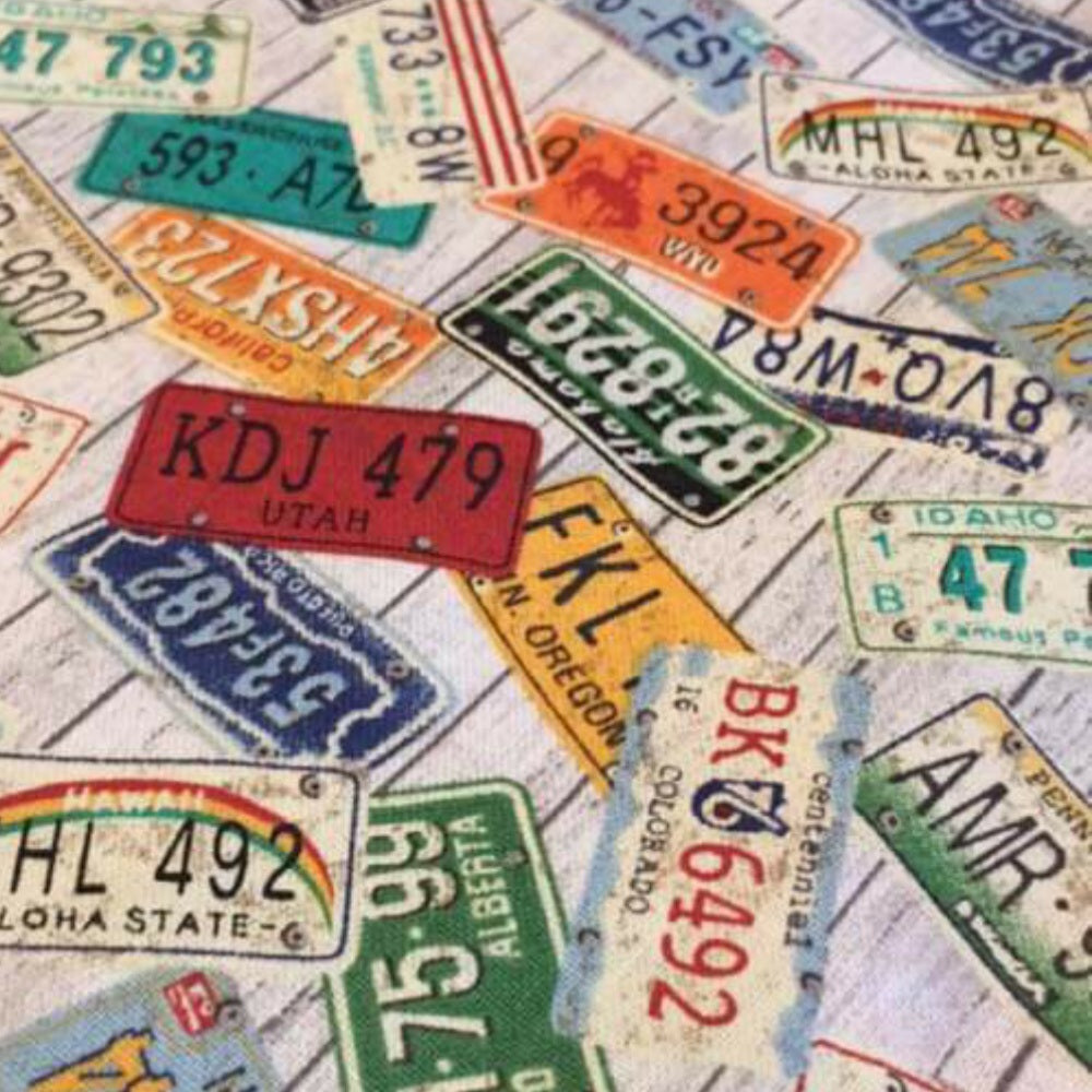 Scattered License plates from vehicles