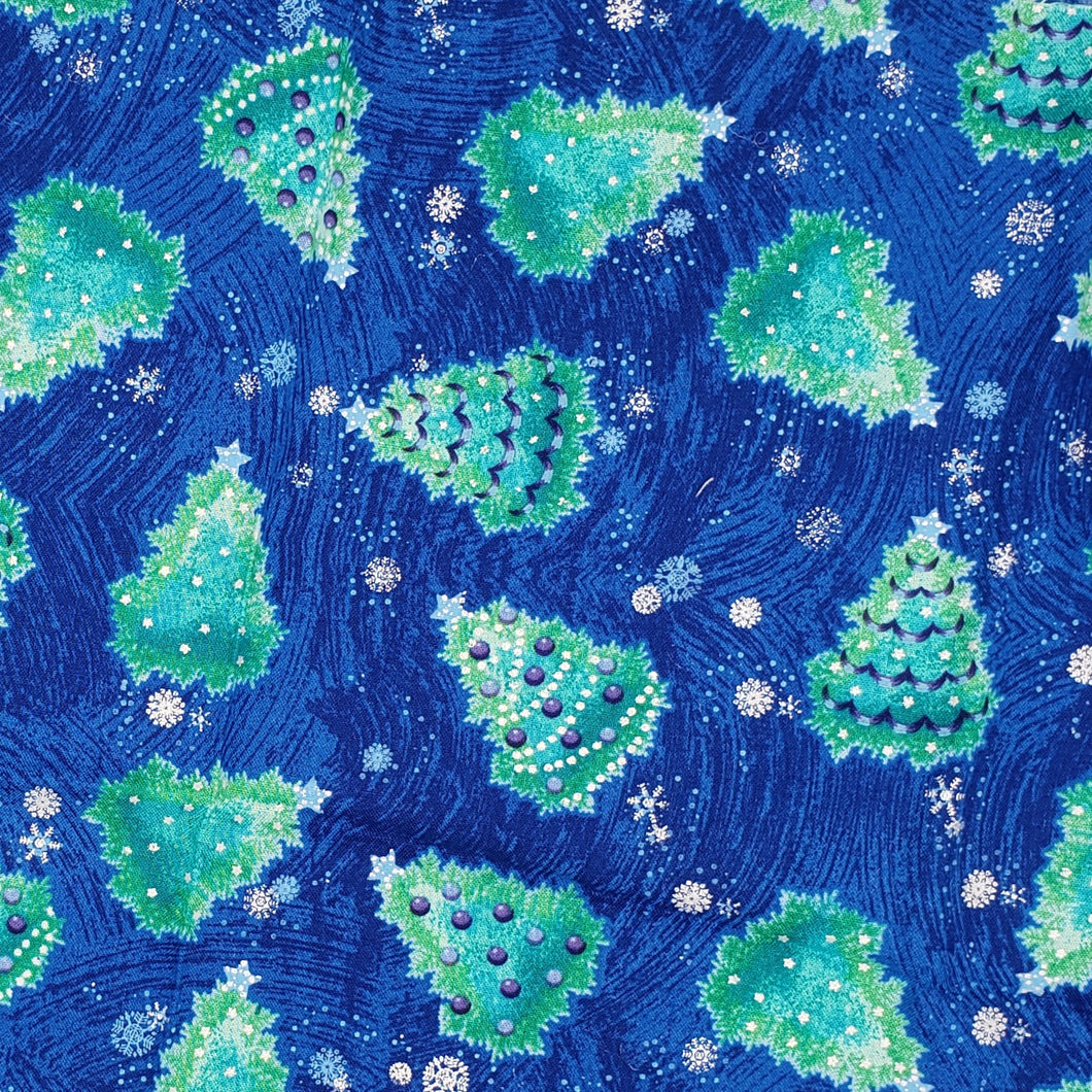 Christmas blue green scattered trees face mask