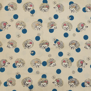 Hedgehogs on tan and teal blue dots