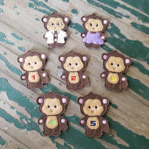 Finger Puppets 5 Little Monkey embroidered playset