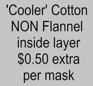 Add a 'Cooler' Cotton (NON Flannel) material choice for inside layer of 1 mask