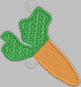 Carrot Design for VERTICAL Banner 4x4 - ITH Digital Embroidery Design
