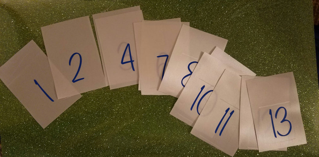 Design Contestant numbers for competition (set of 5)
