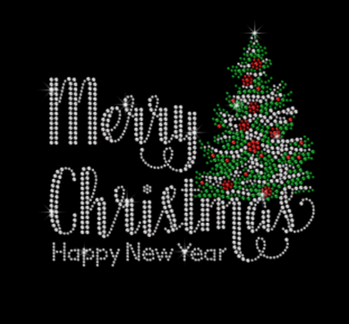 Merry Christmas New Year Tree Rhinestone Tee