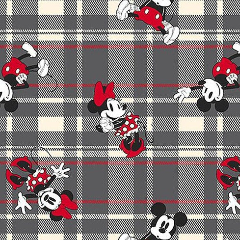 Mickey & Minnie Mouse on Grey Plaid