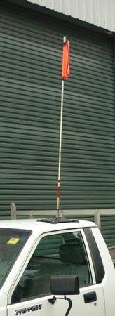 Fibreglass flag pole and durable mesh flag with reflective cross.Quick release fitting - easily connect and disconnect your flag pole in seconds with our quick release mechanism.Flag size