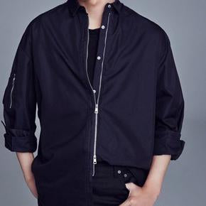 Navy zip up shirt jacket