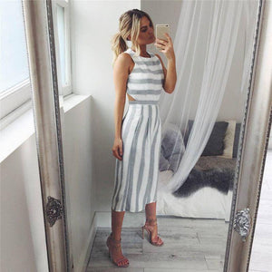Striped Jumpsuit Casual Clubwear
