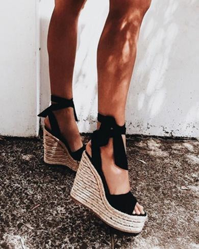 cute toe wedge high heels sandals