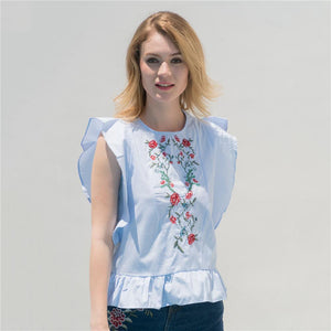 The Ruffles Peplum Blouse Embroidery